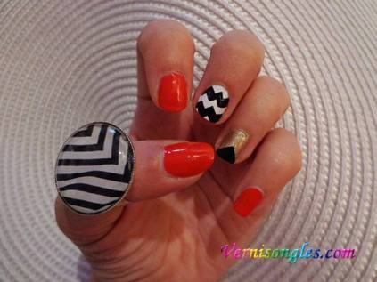 nail art corail triangle