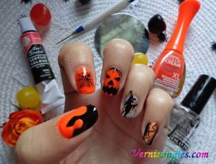 nail art halloween orange