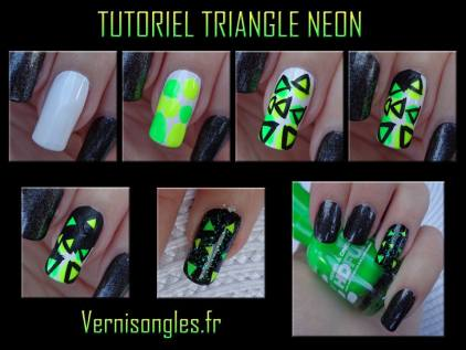 nail art tutoriel triangles néons