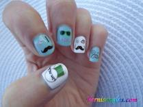 nail art water decals moustaches